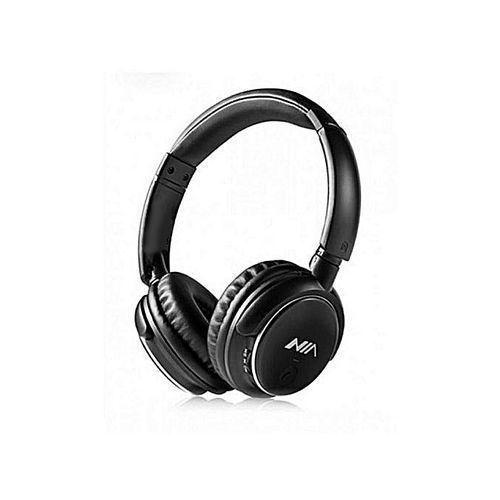Nia Casque Bluetooth Q1 avec Microphone Radio FM support Micro SD / Auxiliaire - noir