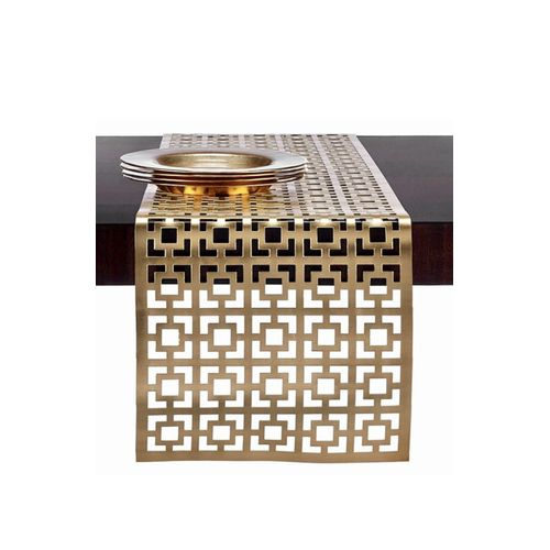 Chemin de table en simili cuir Or, 120/50cm