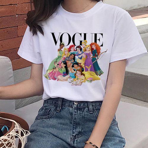 Autre Vogue Harajuku T Shirt Summer Graphic Ullzang T-shirt Korean Kawaii Streetwear Tshirt 90s Funny Princess Cartoon Top Tees Female(#21071) HON