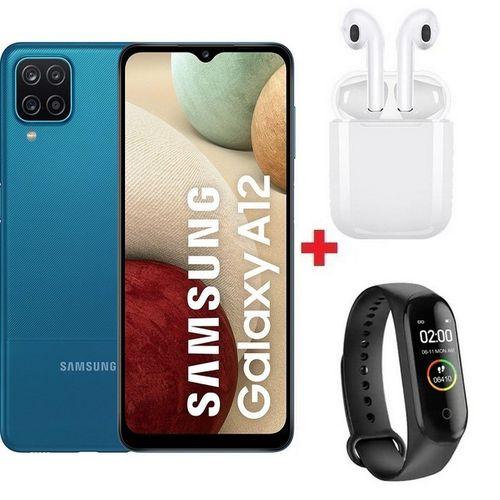 "Galaxy A12 - 6.5"" - 64Go - 4Go - Android 10 - 5000mAh - Bleu+ Band + Ècouteur"