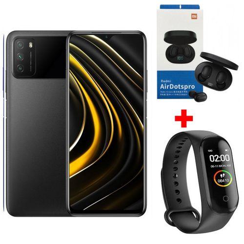 """POCO M3 6,53"""" (4Go, 64Go) 48MP+2MP+2MP/8MP Android – Noir+ Band+ kit"""