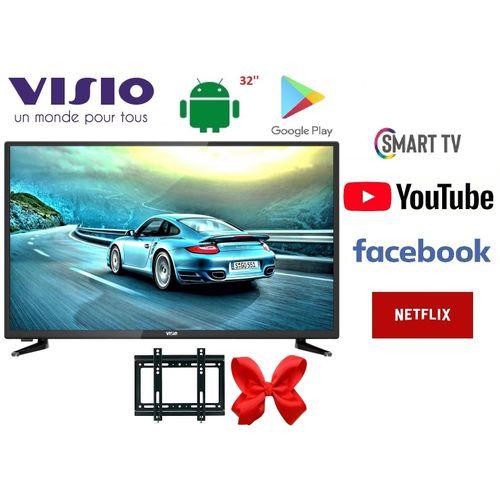 Visio SMART TV 32'' ANDROID + Récepteur Intégré +TNT + USB + HDMI + Support Mural
