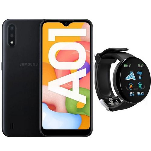 """Galaxy A01 - 5,7 """" HD + - 16Go - 2Go - Noir + SmartWatch"""