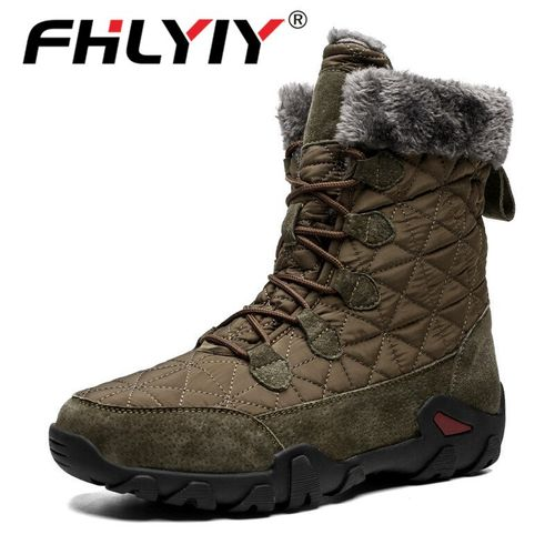 Autre Men'S Boots Cow Leather Men Snow Boots Outdoor Super Warm Winter Ankle Boots Waterproof Motorcycle Boots Sneakers DJL(#Black).