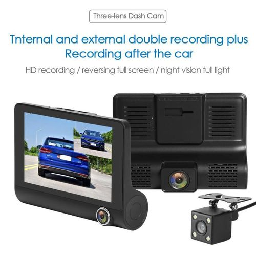 Autre SE010 Triple Lens Car DVR Camera 4 inch TN Screen WDR Night Vision Driving Recorder Switching Front And Rear Mirror