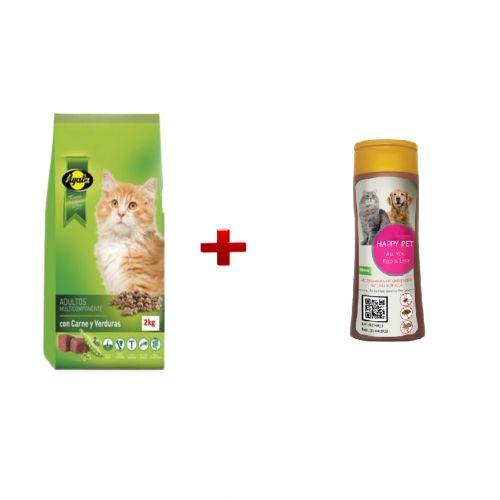 Happy Pet pack special :Happy Pet Shampoing Anti-Puces et Tiques pour Chat et Chien+ Ayala croquette 2kg