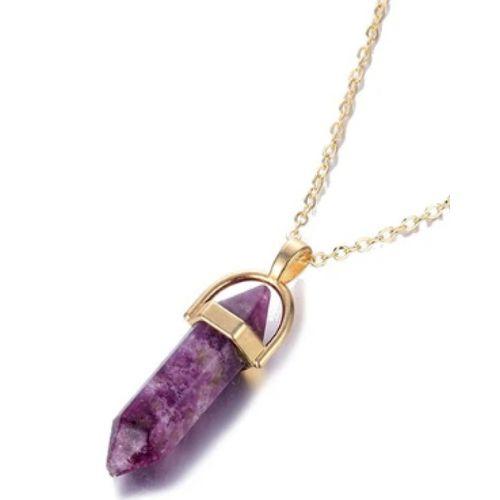 Collier pendentif en cristal irrégulier Bijoux pour Femmes - Mauve