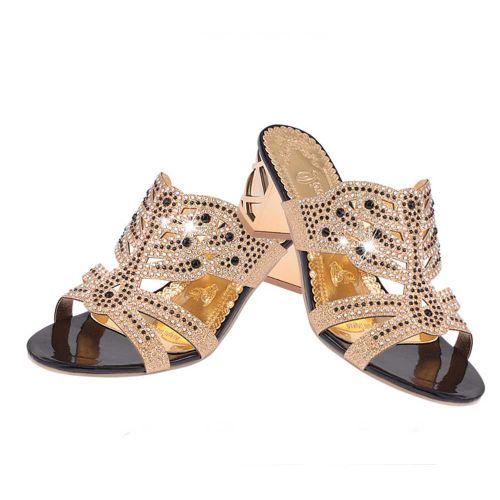 Tcetoctre Women Rhinestone Slippers For Women Fashion Open Toe Shoes  Bohemia  Heels-Black