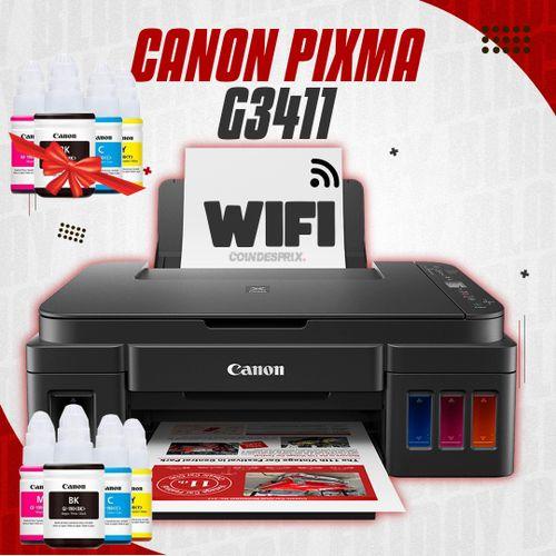 Imprimante Multifonction WiFi PIXMA G3411 Jet d'encre, Jeu de bouteilles inclus + 1 bouteille d'encre noir supplémentaire Remplace G3400 Et G3410