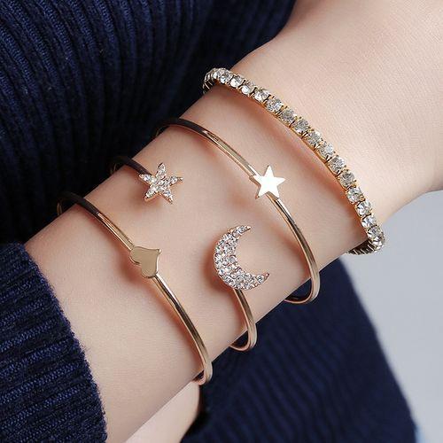 4 bracelets doré pack pour femme de mode bijoux accessoires cadeau