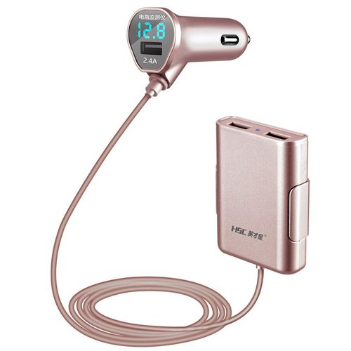HSC-600D 3 Port USB Extension Cable Car Charger Front Rear Seat Charger rose gold