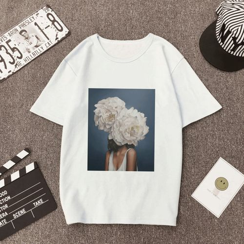 Autre New Vintage Women T Shirt Flowers Feather Funny Vogue T-shirt Oneck Cartoon Print Casual Short Sleeve Harajuku Tshirt Women Tops