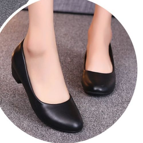 Autre Women Thick Heel Shallow Mouth Single Shoes OL Professional Mother Shoes-Matte Black