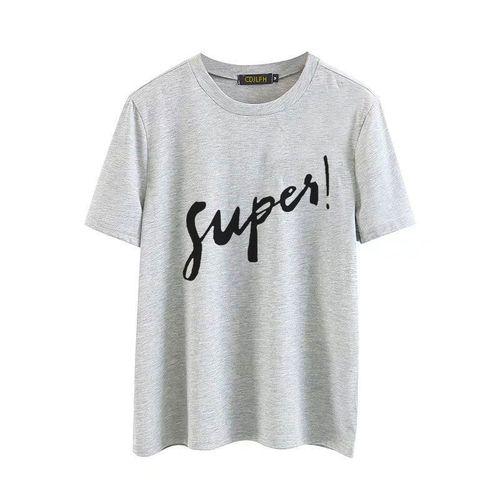 Autre summer new funny Russian Letter Inscription Print short sleeve T shirts Harajuku t shirt Leisure T-shirts Women(#1315heise)