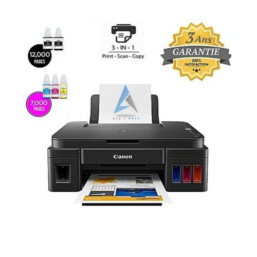 Imprimante à Réservoir Intégré PIXMA G-2411 - 5 Bouteilles d'encre incluses offertes = 12000 Pages en Noir + 7000 Pages en couleur