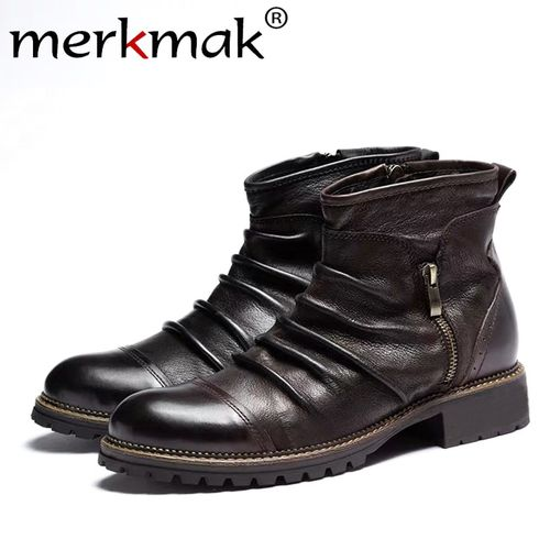 Autre Merkmak New Winter Men Leather Boots Zipper Casual Ankle Boot Breathable Big Size 48 47 46 Male Motorcycle Boots Shoes Footwear(#T2).