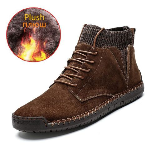 Autre Men Ankle Boots Quality Leather Shoes Warm Men's Snow Boots Winter Shoes  Fur Men's Boots Shoes Size 38-48 DJL(#Brown-F).