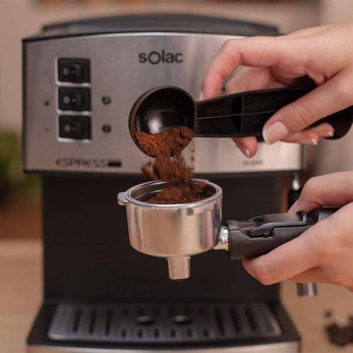Solac Machine à café à expresso 19 Bar ,buse vapeur ,filtre pour 1 ou 2cafés ,1,2L ,Inox/noir ,850w