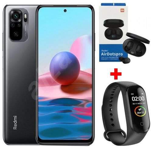 """Redmi Note 10 6,43"""" (4Go, 128Go) 48MP+8MP+2MP+2MP/13MP Android - Gris +Kit+ Band"""
