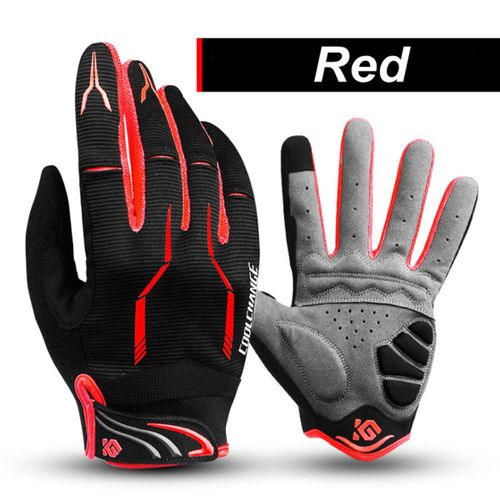 Cycling Motorcycle Windproof Winter Warm MTB Bike Full Finger Touchscreen L-Red (red) l-Red (red) l