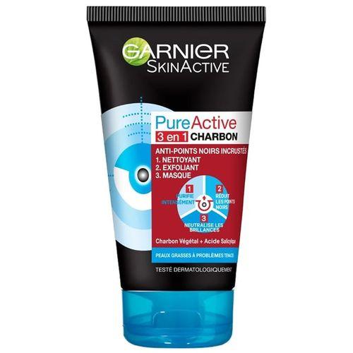 Garnier SkinActive - Gel Nettoyant Pure Active Intensif 3en1 anti-points noirs incrustés - 150ml