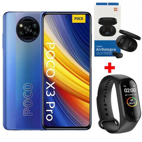"""POCO X3 Pro 6,67"""" 4G (8Go, 256Go) Snapdragon 860 - 48MP / 20MP - Bleu +Kit+Band"""