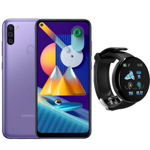 """Galaxy M11 6.4"""" (32Go, 3Go) Android 13MP+2MP+5MP/8MP - Violet + SmartWatch"""