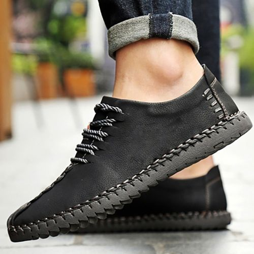 Autre Men's Low Help Shoes British Handmade Leather Shoes-Black