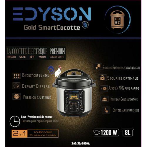 edyson Robot Autocuiseur Haute Pression & Cuiseur Vapeur Smart Cocotte Gold 8L