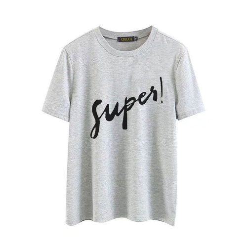 Autre summer new funny Russian Letter Inscription Print short sleeve T shirts Harajuku t shirt Leisure T-shirts Women(#1248gray)