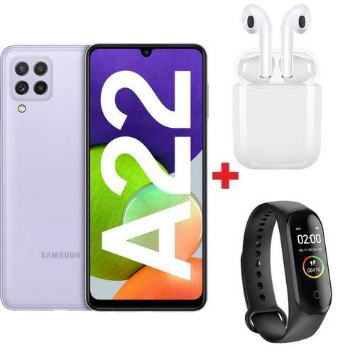 """Galaxy A22 - 6.4"""" - 6Go - 128Go - 48MP - 5000mAh - Violet + Band + Écouteur"""