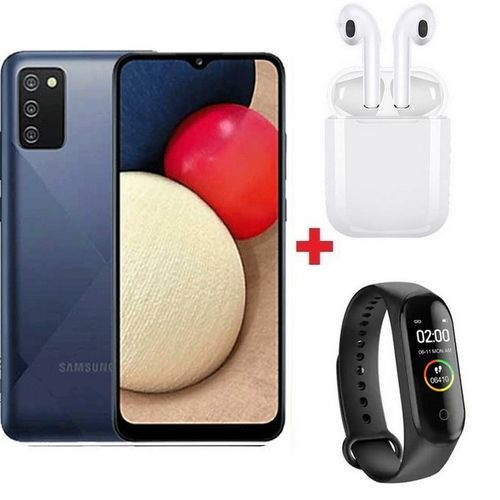 "Galaxy A03s 6.5""HD+ - 13MP - 4G + 64GB - 5,000mAh - Bleu + Band + Écouteur"