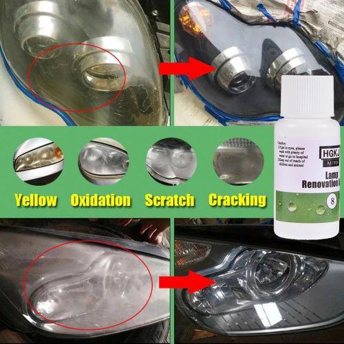20 ml Kit de restauration pour parabole de polissage de voiture Agent de phare Éclaircissant Lampe lumineux blanc phare réparation lampe fissurés nettoyage fenêtre verre nettoyant