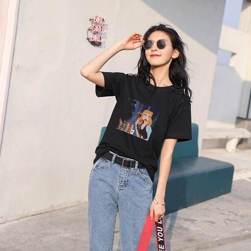 Autre Female T-shirt harajuku Women Cartoon vintage gothic Shirt O-Neck Punk top clothes T-Shirt Casual Sleeve Streetwear(#Black)