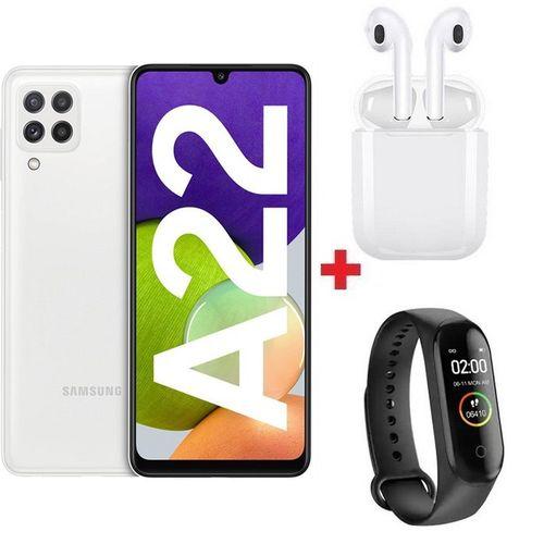 "Galaxy A22 - 6.4"" - 6Go - 128Go - 48MP - 5000mAh - Blanc + Band + Écouteur"