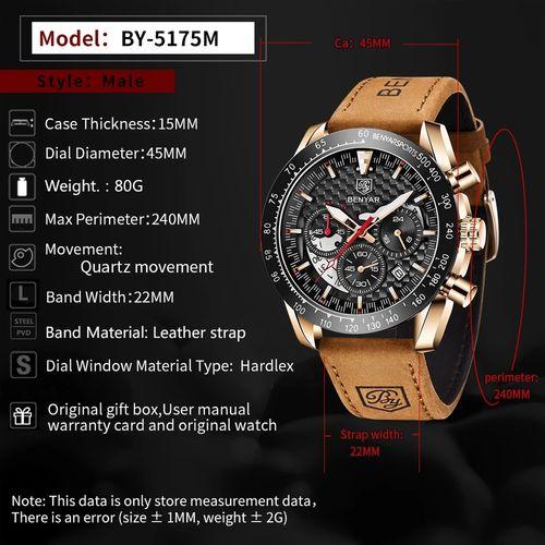 Benyar montres en cuir professionnel chronographe mouvement quartz