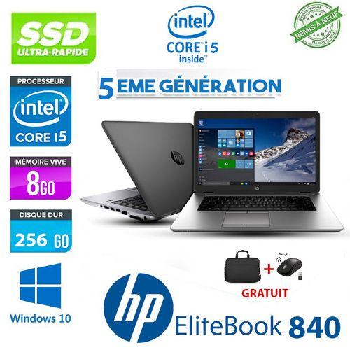 PC PORTABLE HP ELITEBOOK 840 I5 5ÉME GEN+CARTABLE+SOURIS GRATUIT - Remise à neuf