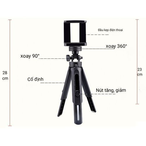Mini Scalable Desktop Telescopic Tripod Support Phone Stand Holder - Black