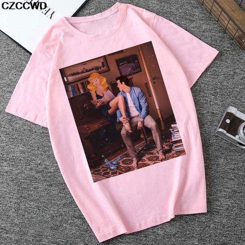 Autre Women Clothes T Shirt Ulzzang Harajuku Prince Princess Tshirt Leisure Streetwear Hipster Female T-shirt Tops(#5520-pink)