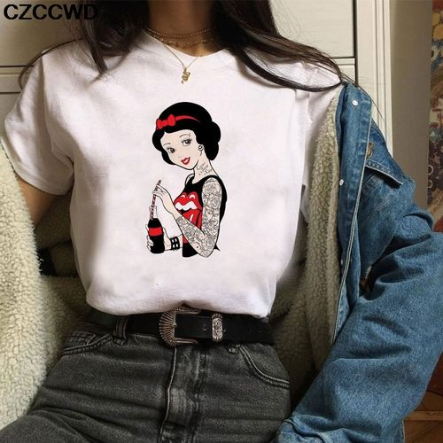 Autre Poleras Mujer De Moda Summer T Shirt Women Princess Print Vogue Harajuku Aesthetic T Shirt Plus Size T-shirt Camiseta Mujer(#1954-Pink)