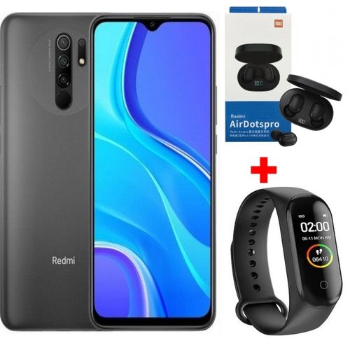 """Redmi 9 6.53"""" (4Go, 64Go) 13 MP+8 MP+5 MP+2 MP/8 MP Android - Gris+ KIT + Band"""