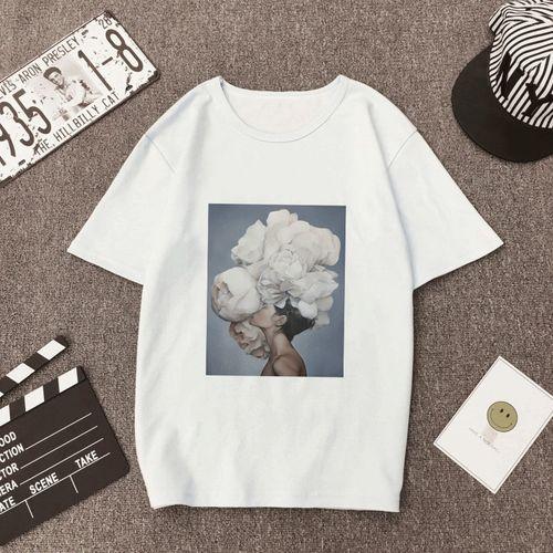 Autre New Vintage Women T Shirt Flowers Feather Funny Vogue T-shirt Oneck Cartoon Print Casual Short Sleeve Harajuku Tshirt Women Tops