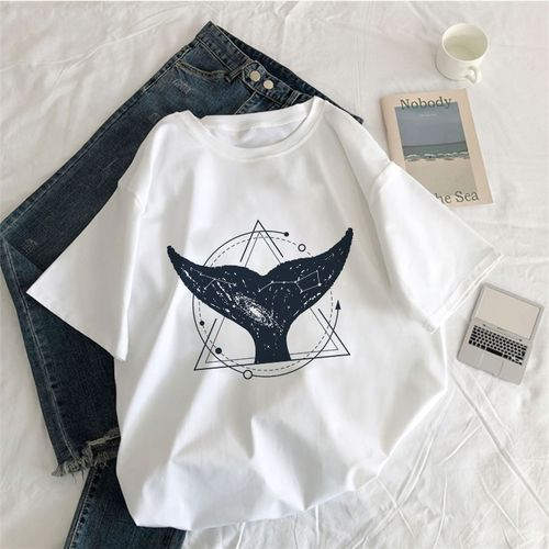 Autre Vintage Vogue Whale Tail Printed Gothic Tshirt Cosmic Belief Harajuku Summer Tops T Shirt Women Vintage Streetwear T-shirt(#1345-Pink)