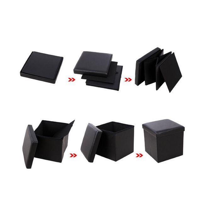 Pouf Coffre De Rangement Pliable Multifonctionnel Tabouret Rabattable 3838375 Cm