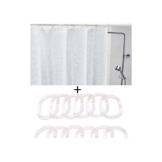 Rideau De Douche Blanc 180x200 Cm 12 Anneau Transparent
