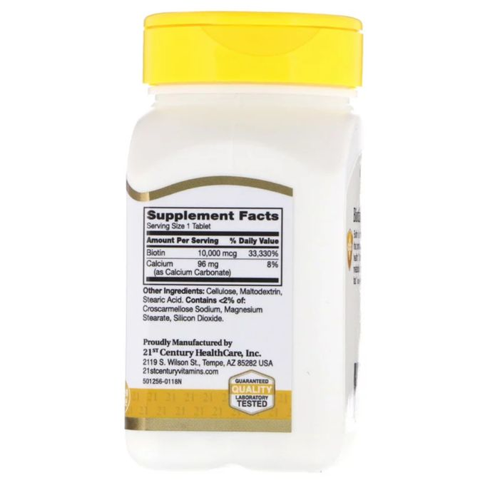 Biotine 10000mcg 120 Tablettes Format économique 4 Mois Made In Usa