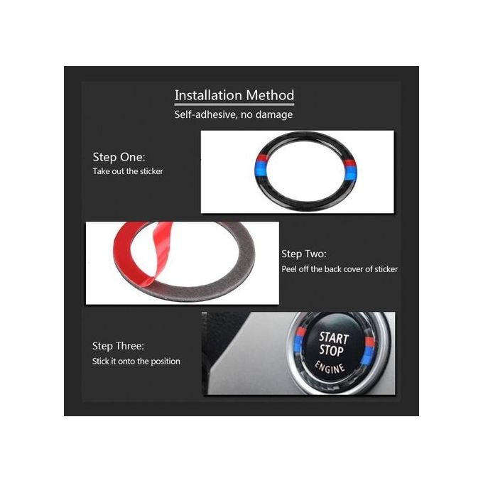 Carbon Fiber Car Engine Start Button Ring Decorative Frame Cover For Bmw E909293 2