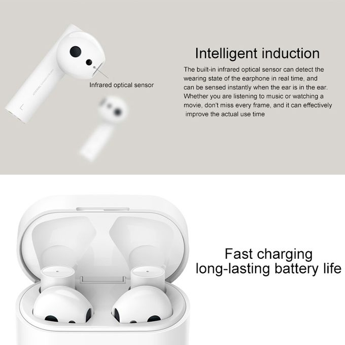 product_image_name-Universal-Xiaomi Air 2 TWS Bluetooth 5.0 Infrared Optical Sensor Wireless Bluetooth Earphone with Charging Box, Support Voiceistant & HD Call & APP Custom Settings(White)-8
