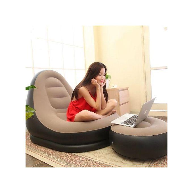 Intex-Chaise longue gonflable gris//noir
