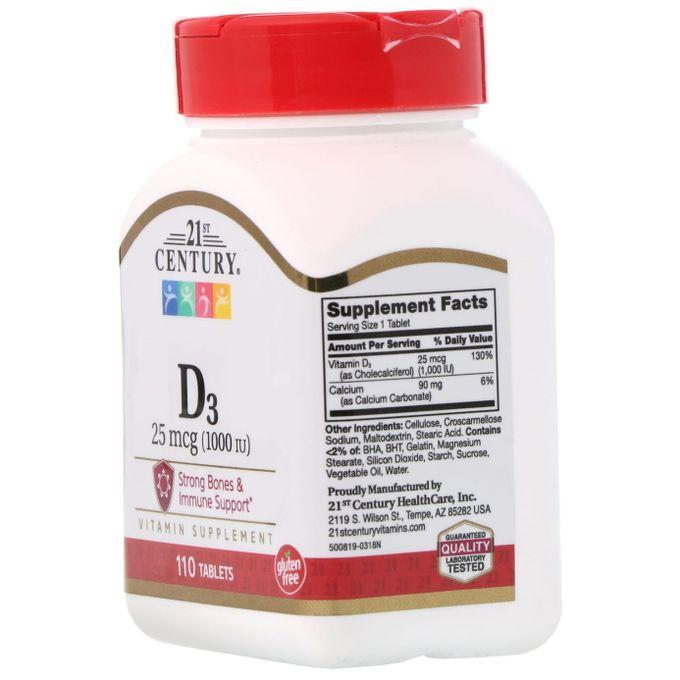 Usa Vitamine D3 1000ui 110 Gélules Calcium 90 Mg